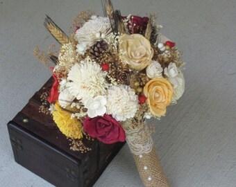 Wedding Bouquet, Sola wood Bouquet, Pine cone bouquet,  Red Bouquet,  Ready to ship ,Dried bouquet, Bridal bouquet,   Bouquet, Sola flowers,