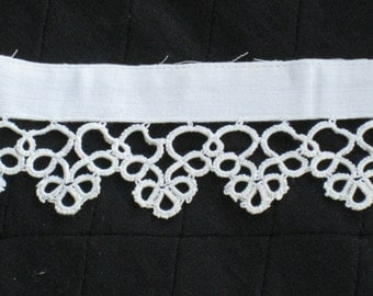 """Handmade Antique Tatted Lace Trim on Cotton Band - Edwardian - 21"""" Long - Ivory Cream Cotton - Reclaimed Vintage Supplies, Sewing, Crafting"""