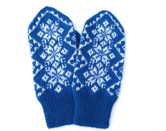 Cashmere wool mittens,Warm winter gloves,Snowflake patterned mittens,Scandinavian knitted mittens,Blue white wool mittens,Gifts idea for Her