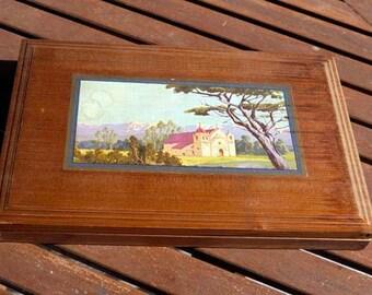 Vintage Cedar Flat Decorative Storage Box Cigars Cards