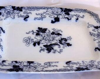 Antique Fontainebleau Serving Platter Indigo Rectangle