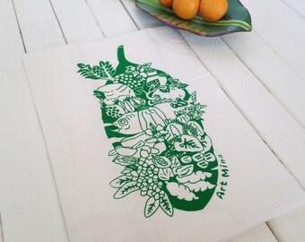 "Tea Towel - Screen Printed Flour Sack Towel - Eco Friendly Kitchen Towel - Hawaiian illustration ""Luau"" Dish Towel - 100% cotton green  leaf"
