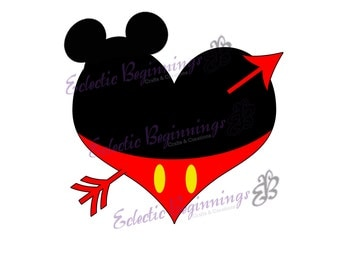 valentines day disney digital file diy print iron on mickey mouse heart and - Mickey Mouse Valentines