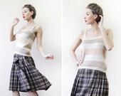 Christian Dior vintage beige off white silk knit wide strap tank top