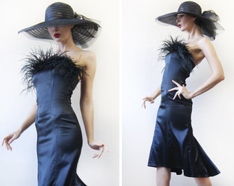 Vintage black evening feather satin slim fitted strapless midi dress XS-S
