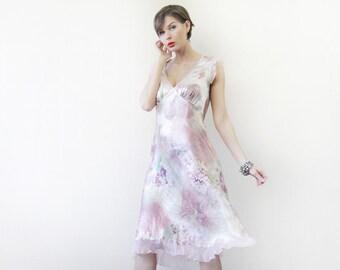 Vintage pale pastel lilac pink floral print silk satin sleeveless summer evening midi dress S