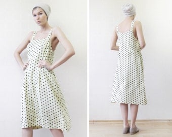 Vintage ivory yellow black polka dot simple summer day dress M