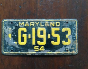 Vintage 1953/54 Mini Tin License Plate Maryland MD
