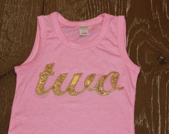 GOLD or SILVER, one or two, 1 or 2, Pink and Gold a-line tank first brithday dress - cute fall dress with jean jacket