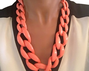 Skinny Link Necklace Orange