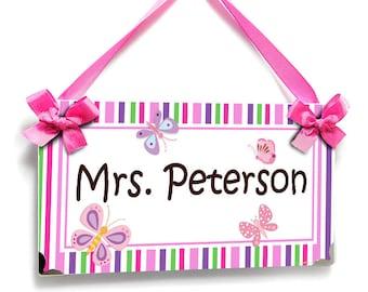 custom teacher gift butterflies themed classroom  door sign pink purple green stripes  - P358