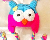 BABY OWL Hat -crochet handmade baby hat -animal hat -kids boho owl hat, cute animal baby hat