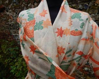 Vintage silk kimono dressing gown robe exotic birds & flora cream oriental flapper 1920s deco era