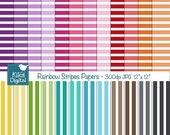 70% Sale Colorful Stripes Digital Papers - Colorful Digital Scrapbook Papers - card design, invitations, background, paper crafts - INSTANT