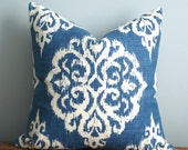 Blue and creamy white/off white medallion pillow cover - 20 x 20 inch