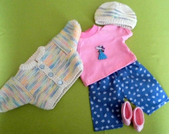 "4 piece Dolls' clothes für 16"" or 17"" waldorf dolls or other dolls with this size."