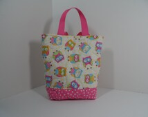 Handmade owl tote bag,  quilted tote bag with padded pockets, white and pink totebag