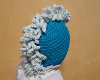 Crochet Baby Hat, Hat With Mohawk, Mohawk Hat, Turquoise Hat, 3 months