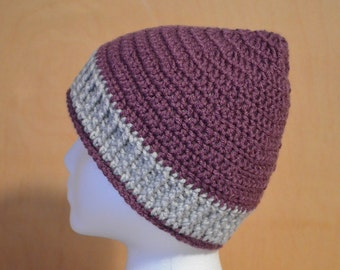 Adult Hat, Crochet Hat, Graymist and Mulberry