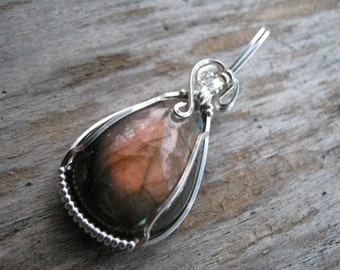 Sterling Pink Labradorite Pendant, Wire Wrapped in 925 Sterling Silver, Pink Purple Spectrolite,  READY To SHIP