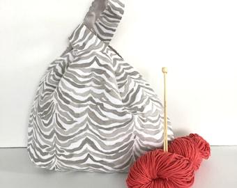 Knitting Bag, Zebra Print Project Bag, Japanese Knot Handbag