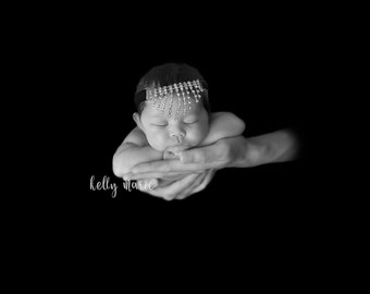 BABY BLING HEADBAND, Rhinestone Headband, Baby Headband, Newborn Photo Prop, Newborn Headband, Headband, Newborn Photo Prop, Custom Headband