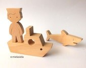 Wooden toy - a boy sailor, ship and animal - gift for boy