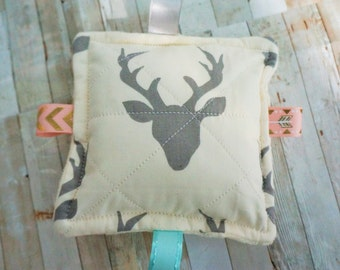 "Baby toys, crinkle toys, woodland theme, deer head, antlers, sound toys,  babies love these 5"" inch squares of teething fun."