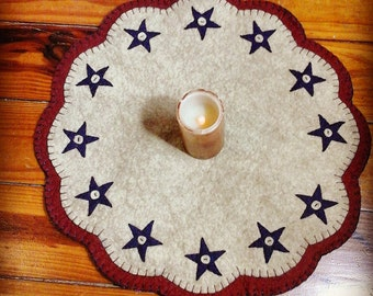 Fourth of July Americana penny rug hand made large scale