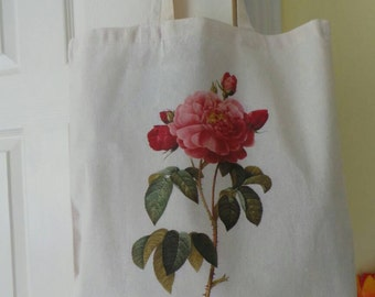 Reusable cotton shopper which has been hand printed with a floral rose image