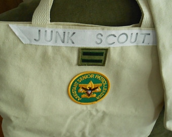 JUNK SCOUT tote bag for pickers! Canvas with Boy Scout patches