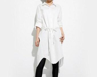 Woman Shirt Long Blouse White Blouse Boyfriend Shirt Office Blouse #B83
