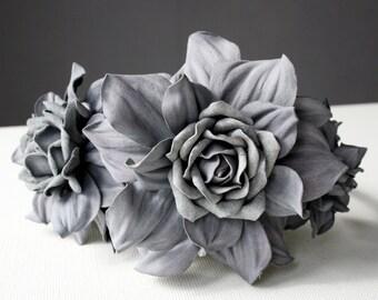 Grey/dark grey(leaves) Leather Roses Headband