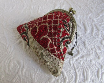 48A - Coin purse - Fabric with Metal Frame, handmade, wallet