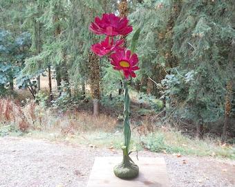 Standing Pink Sunflower Florist Flower Sculpture Vintage 1980s Cottage Garden Porch Wedding Floral Display Mid Century Arts Crafts Farmhouse