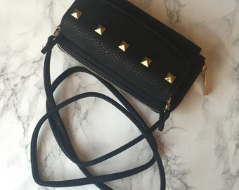 Jumbo Studded Clutch Wallet Bag - Black Faux Leather - Gold Studs