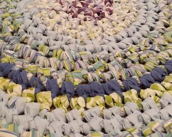 Artisan Crochet Rag Rug Cottage Shabby Chic Yipes Stripes Textile Art Eco Friendly Nursery Kitchen Pet