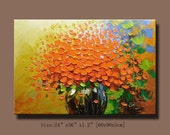 Abstract Wall Painting,  Impasto Acrylic Painting Modern Palette Knife Flowers Contemporary  wall Art .Impasto Original Artwork by Chen w15