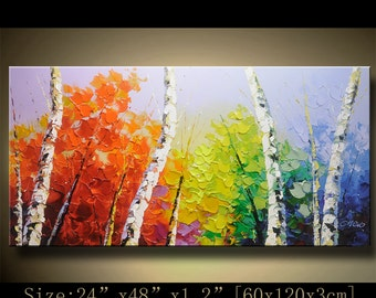 contemporary wall art, Palette Knife Painting,colorful tree painting,wall decor , Home Decor,Acrylic Textured Painting ON Canvas by Chen h71