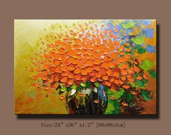 Abstract Wall Painting,  Impasto Acrylic Painting Modern Palette Knife Flowers Contemporary  wall Art .Home Decor by Chen w15