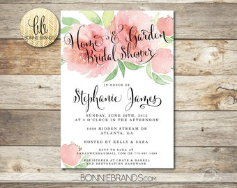 Bridal Shower Invitation // Home and Garden Bridal Shower Theme  // Floral Watercolor