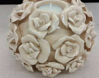 Tea Candle Holder, Porcelain Flowers, Wedding Decor.