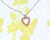 Vintage Heart Ruby Rhinestone Necklace Pendant Monet