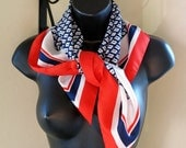 White red blue scarf, vintage square summer scarf, Royal Viking Line souvenir, gift for her