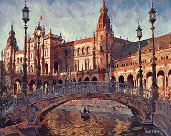 "Europe Castle Palace Bridge Cityscape 16x20"" with mat frame. Painting on giclee canvas. Impressionism. Artist Vlad Tixon"