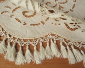 Antique french crochet linen doily, 1900, Victorian, Handmade, Embroidery, Vintage, France, Napperon brodé