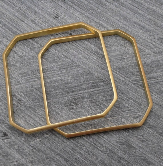 CHRISTMAS SALE: Geometric  Gold Bracelet, Octagonal Bangle, Elegant, Minimalist, Trendy, Urban, 24k Plating