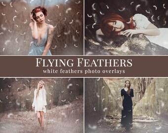 """Feathers photo overlays """"Flying Feathers"""",  free mist & light photo overlays, digital photo overlays for Photoshop"""