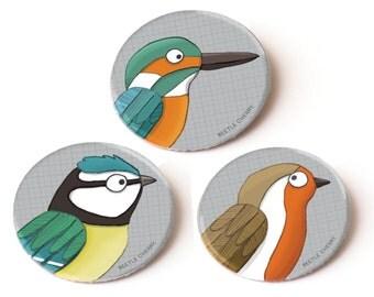 Set of 3 bird pin badges