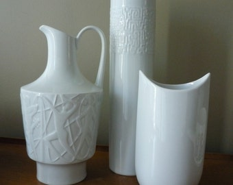 Vintage German Porcelain Pitcher, Relief Pattern Designed by Kurt Wendler, Mid Century Vase,